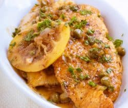 easy freid chicken breasts with lemon and capers