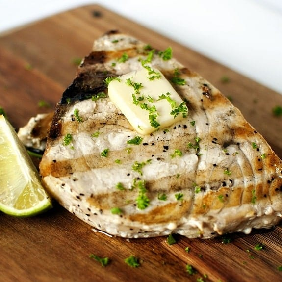 grilled swordfish steak with ginger and lime