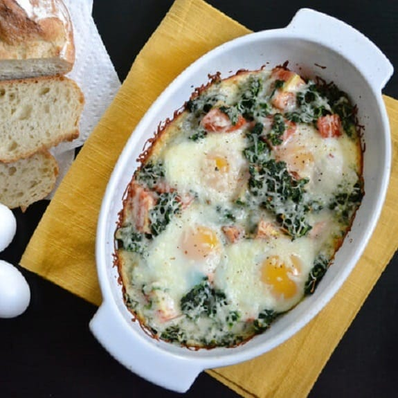 oven baked eggs with salmon and spinach