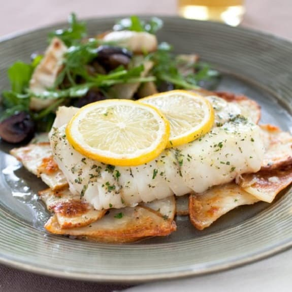 baked cod with braised potatoes