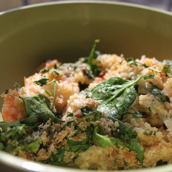 couscous with shrimp and spinach