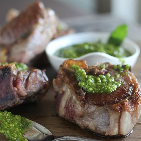 fried lamb chops with pesto