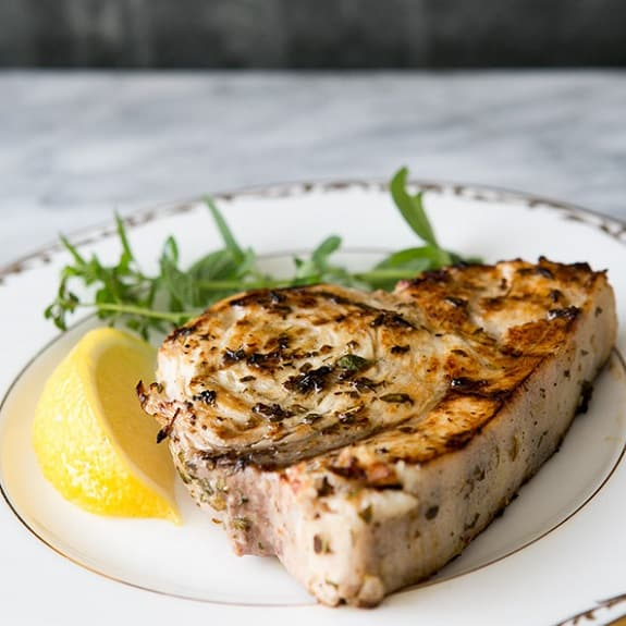 swordfish marinated with Chardonnay and tarragon