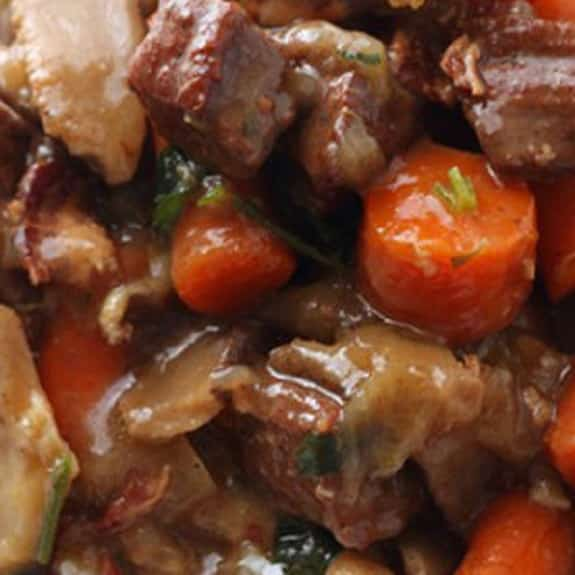 oven baked beef and mushroom in red wine