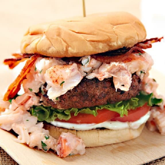 grilled burger with lobster meat and bacon