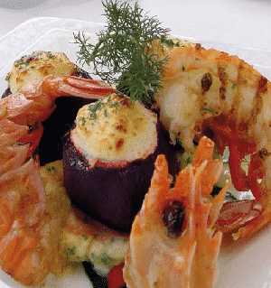 cheese-stuffed beetroots with grilled langoustines