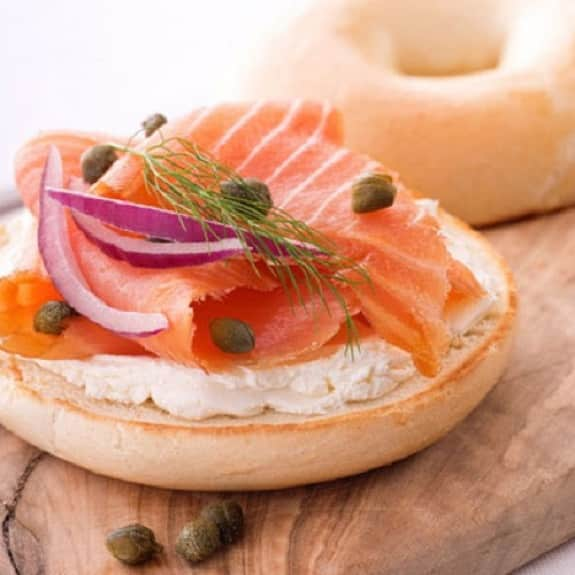 bagel with cream cheese and salmon