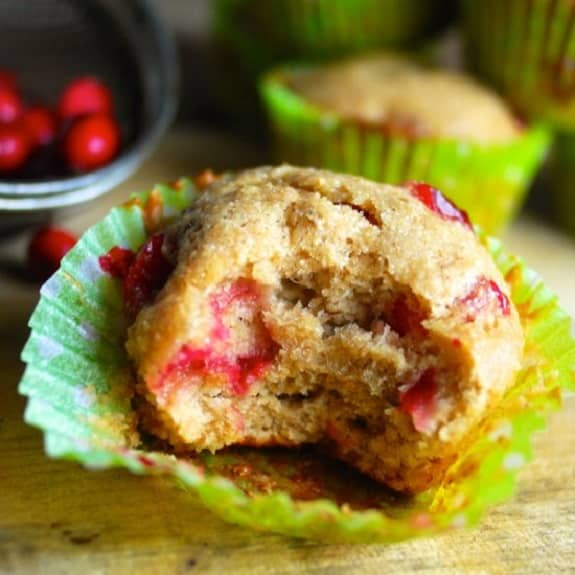 oven baked cranberry banana muffins