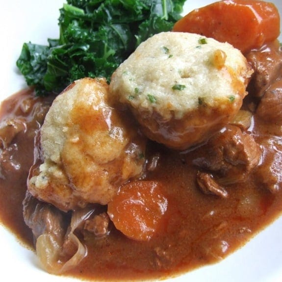 beef casserole with stilton and herb dumplings