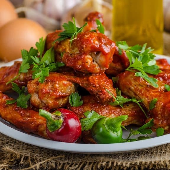 grilled chicken wings with barbecue sauce