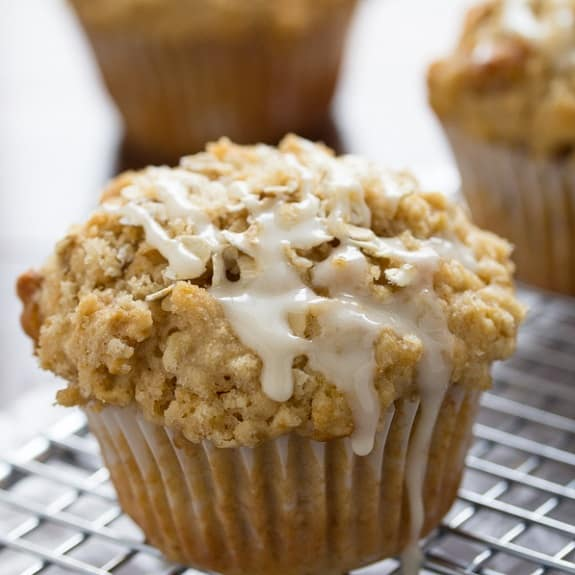 oven baked maple walnut oatmeal muffins