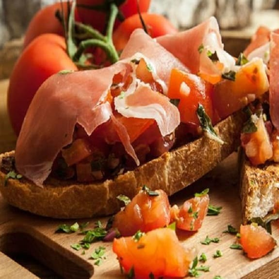 parma ham and mustard bruschetta