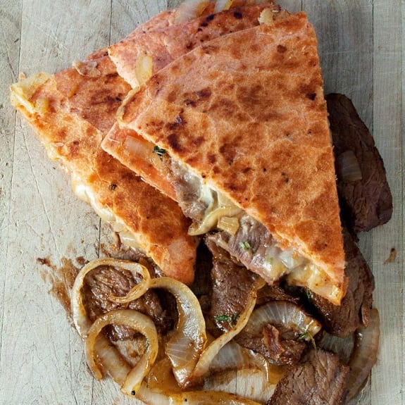 caramelized onion and steak quesadilla