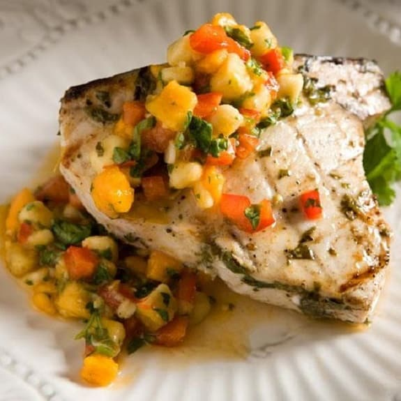 grilled swordfish with banana papaya salsa