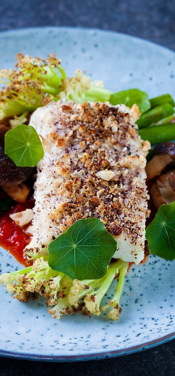 baked halibut with herb-almond crust