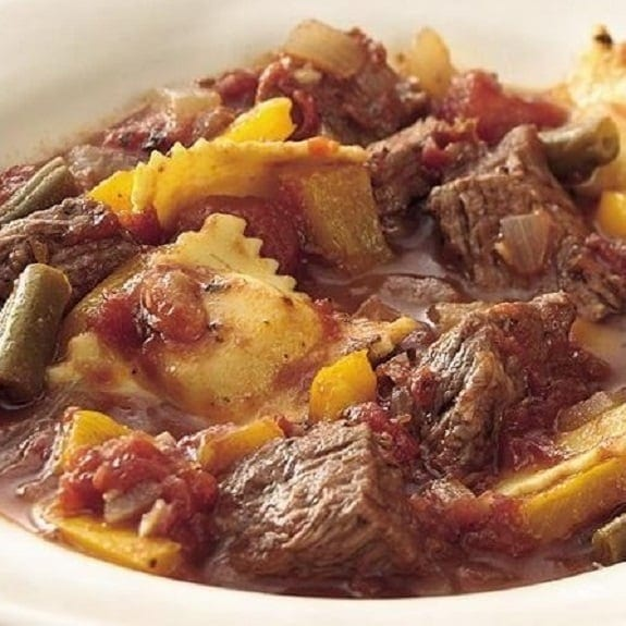 slow cooker beef stew with ravioli