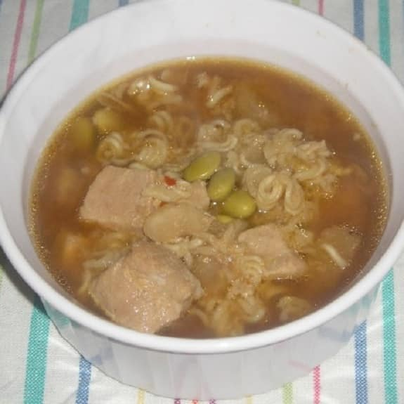 slow cooker pork and edamame soup