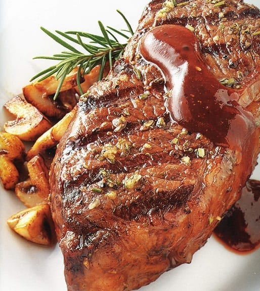 oven baked rump steak with rosemary sauce