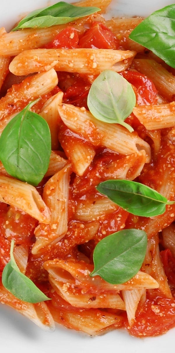 pressure cooker penne with creamy tomato vodka sauce