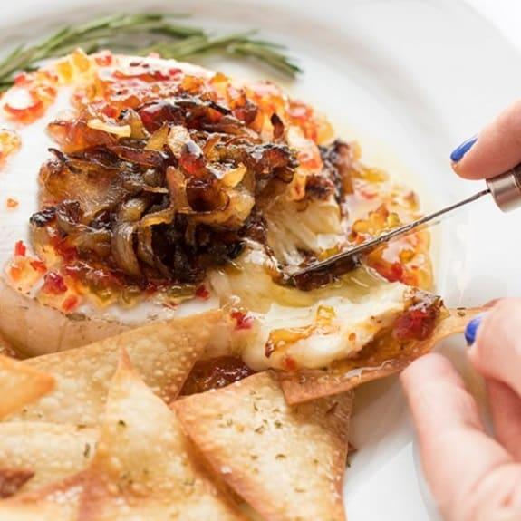 warm croissant brie caramelized onion sandwiches